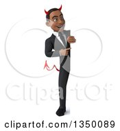 Clipart Of A 3d Full Length Young Black Devil Businessman Pointing Around A Sign Royalty Free Illustration