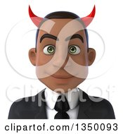 Clipart Of A 3d Young Black Devil Businessman Avatar Royalty Free Illustration by Julos