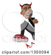 Clipart Of A 3d Young Black Devil Businessman Holding A Beef Steak Around A Sign Royalty Free Illustration