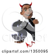 Clipart Of A 3d Young Black Devil Businessman Holding A Dollar Currency Symbol Around A Sign Royalty Free Illustration