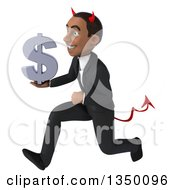 Clipart Of A 3d Young Black Devil Businessman Holding A Dollar Currency Symbol And Running To The Left Royalty Free Illustration