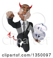 Clipart Of A 3d Young Black Devil Businessman Holding A Dollar Currency Symbol And Flying Royalty Free Illustration