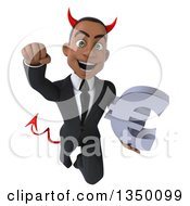 Clipart Of A 3d Young Black Devil Businessman Holding A Euro Currency Symbol And Flying Royalty Free Illustration