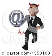 Clipart Of A 3d Young Black Devil Businessman Holding An Email Arobase At Symbol And Sprinting Royalty Free Illustration