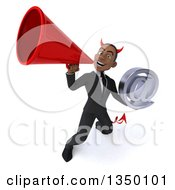 Clipart Of A 3d Young Black Devil Businessman Holding An Email Arobase At Symbol And Using A Megaphone Royalty Free Illustration