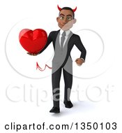 Clipart Of A 3d Young Black Devil Businessman Holding A Love Heart And Walking Royalty Free Illustration