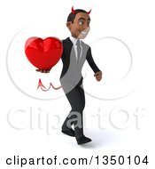 Clipart Of A 3d Young Black Devil Businessman Holding A Love Heart And Walking To The Right Royalty Free Illustration
