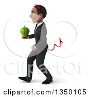 Clipart Of A 3d Young Black Devil Businessman Holding A Green Bell Pepper And Walking To The Left Royalty Free Illustration
