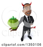 Clipart Of A 3d Young Black Devil Businessman Holding Up A Green Bell Pepper Royalty Free Illustration