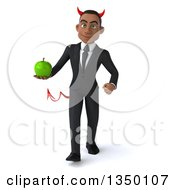 Clipart Of A 3d Young Black Devil Businessman Holding A Green Apple And Walking Royalty Free Illustration