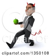 Clipart Of A 3d Young Black Devil Businessman Holding A Green Apple And Speed Walking To The Left Royalty Free Illustration