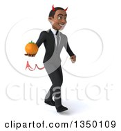 Clipart Of A 3d Young Black Devil Businessman Holding A Navel Orange And Walking To The Right Royalty Free Illustration