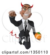 Clipart Of A 3d Young Black Devil Businessman Holding A Navel Orange And Flying Royalty Free Illustration