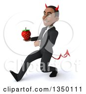 Clipart Of A 3d Young Black Devil Businessman Holding A Strawberry And Speed Walking To The Left Royalty Free Illustration