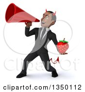 Clipart Of A 3d Young Black Devil Businessman Holding A Strawberry And Using A Megaphone Royalty Free Illustration