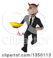 Clipart Of A 3d Young Black Devil Businessman Holding A Banana And Sprinting Royalty Free Illustration