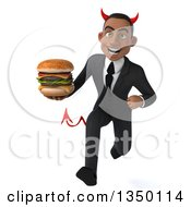 Clipart Of A 3d Young Black Devil Businessman Holding A Double Cheeseburger And Sprinting Royalty Free Illustration