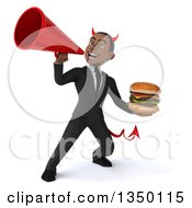 Clipart Of A 3d Young Black Devil Businessman Holding A Double Cheeseburger And Using A Megaphone Royalty Free Illustration