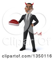 Clipart Of A 3d Young Black Devil Businessman Holding A Beef Steak Royalty Free Illustration