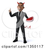 Clipart Of A 3d Young Black Devil Businessman Holding Up A Finger And A Beef Steak Royalty Free Illustration