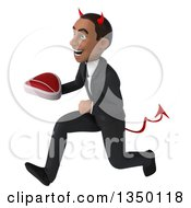 Clipart Of A 3d Young Black Devil Businessman Holding A Beef Steak And Sprinting To The Left Royalty Free Illustration