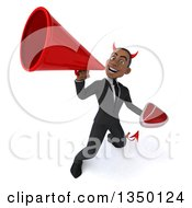 Clipart Of A 3d Young Black Devil Businessman Holding A Beef Steak And Using A Megaphone Royalty Free Illustration by Julos