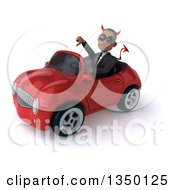 Clipart Of A 3d Young Black Devil Businessman Wearing Sunglasses Giving A Thumb Down And Driving A Red Convertible Car To The Left Royalty Free Illustration by Julos