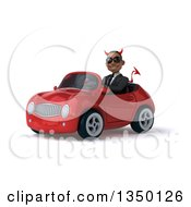 Clipart Of A 3d Young Black Devil Businessman Wearing Sunglasses And Driving A Red Convertible Car To The Left Royalty Free Illustration by Julos