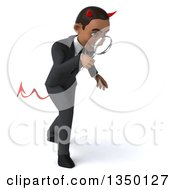 Clipart Of A 3d Young Black Devil Businessman Facing Right Looking Down And Searching With A Magnifying Glass Royalty Free Illustration by Julos