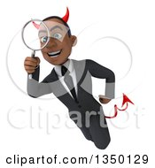 Clipart Of A 3d Young Black Devil Businessman Flying And Searching With A Magnifying Glass Royalty Free Illustration