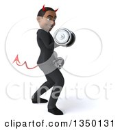 Clipart Of A 3d Young Black Devil Businessman Facing Right Doing Bicep Curls Working Out With Dumbbells Royalty Free Illustration