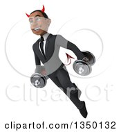 Clipart Of A 3d Young Black Devil Businessman Flying And Working Out With Dumbbells Royalty Free Illustration by Julos