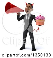 Clipart Of A 3d Young Black Devil Businessman Holding A Cupcake And Using A Megaphone Royalty Free Illustration