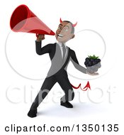 Clipart Of A 3d Young Black Devil Businessman Holding A Blackberry And Using A Megaphone Royalty Free Illustration