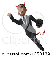 Clipart Of A 3d Young Black Devil Businessman Holding A Blackberry And Flying Royalty Free Illustration by Julos