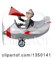 Clipart Of A 3d Young White Business Man Aviator Pilot Wearing Sunglasses Using A Megaphone And Flying A White And Red Airplane To The Left Royalty Free Illustration