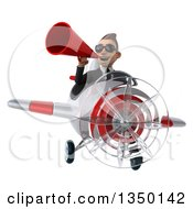 Clipart Of A 3d Young White Business Man Aviator Pilot Wearing Sunglasses Using A Megaphone And Flying A White And Red Airplane Royalty Free Illustration