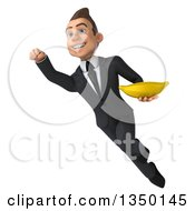 Clipart Of A 3d Young White Business Man Holding A Banana And Flying Royalty Free Illustration by Julos