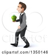 Clipart Of A 3d Young White Business Man Holding A Green Bell Pepper And Walking To The Left Royalty Free Illustration