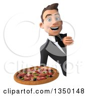 Clipart Of A 3d Young White Business Man Holding A Pizza Around A Sign Royalty Free Illustration