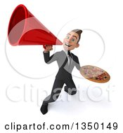 Clipart Of A 3d Young White Business Man Holding A Pizza And Using A Megaphone Royalty Free Illustration