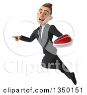 Clipart Of A 3d Young White Business Man Holding A Beef Steak Flying And Pointing Royalty Free Illustration