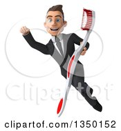 Clipart Of A 3d Young White Business Man Flying With A Giant Toothbrush Royalty Free Illustration by Julos