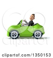 Clipart Of A 3d Young White Business Man Giving A Thumb Up And Driving A Green Convertible Car To The Left Royalty Free Illustration