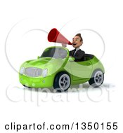 Clipart Of A 3d Young White Business Man Using A Megaphone And Driving A Green Convertible Car To The Left Royalty Free Illustration