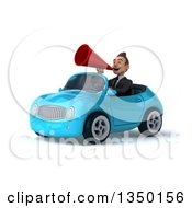 Clipart Of A 3d Young White Business Man Using A Megaphone And Driving A Blue Convertible Car To The Left Royalty Free Illustration