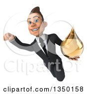 Clipart Of A 3d Young White Businessman Holding An Amber Tincture Drop And Flying Royalty Free Illustration
