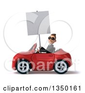 Clipart Of A 3d Young White Business Man Wearing Sunglasses Holding A Blank Sign And Driving A Red Convertible Car To The Left Royalty Free Illustration