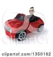 Clipart Of A 3d Young White Business Man Wearing Sunglasses And Driving A Red Convertible Car To The Left Royalty Free Illustration