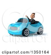 Clipart Of A 3d Young White Business Man Giving A Thumb Down And Driving A Blue Convertible Car To The Left Royalty Free Illustration